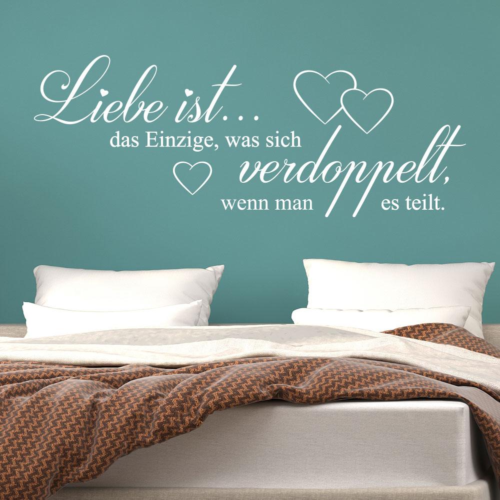 """Wandtattoo Spruch /""""Liebe ist wenn jemand deine Welt auf.../"""" Zitat Schlafzimmer"""