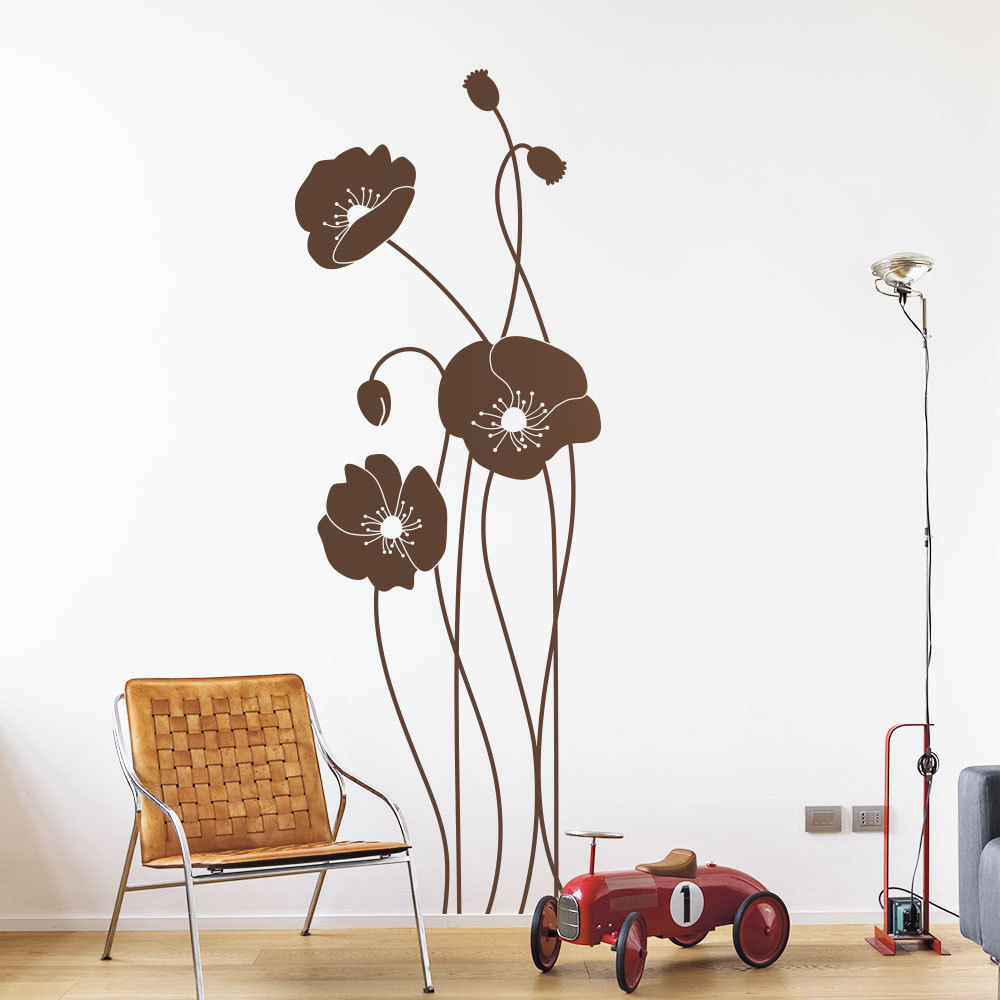 wandtattoo moderne mohnblume wandaufkleber klatschmohn. Black Bedroom Furniture Sets. Home Design Ideas