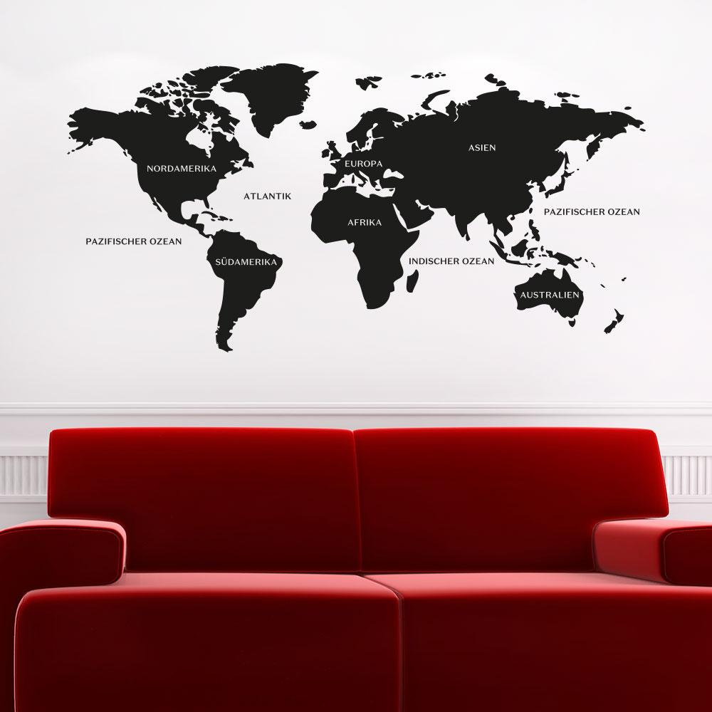 Innenarchitektur Wandtattoo Weltkarte Galerie Von Mit Kontinente Und Ozeane